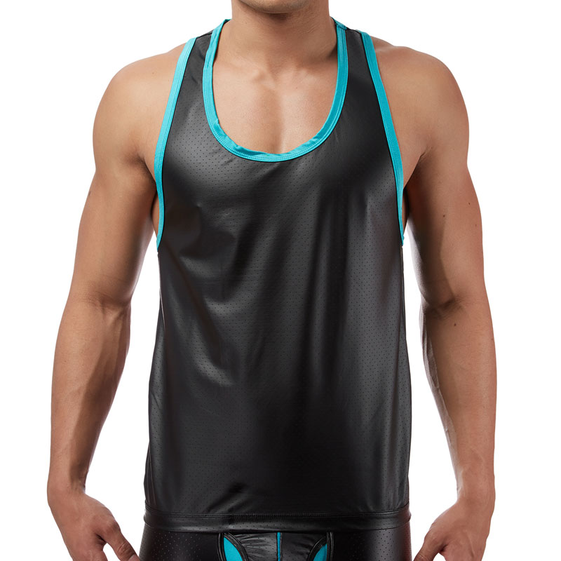 Male Power Lazer Mesh Tank Top T Shirt Black 112-233