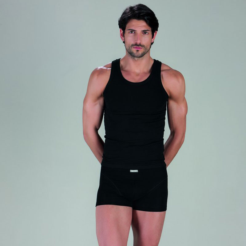 Minerva [2 Pack] Sporties Eco Vest Muscle Top T Shirt Black 12014