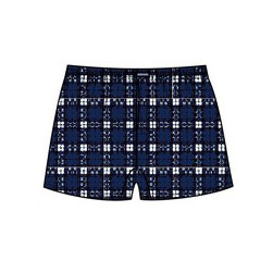Minerva Short Popline Check Loose Boxer Shorts Underwear Navy 23073
