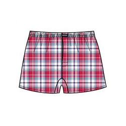Minerva Short Popline Check Loose Boxer Shorts Underwear Red 23073