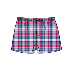 Minerva Short Popline Check Loose Boxer Shorts Underwear Royal Blue/Red 23073
