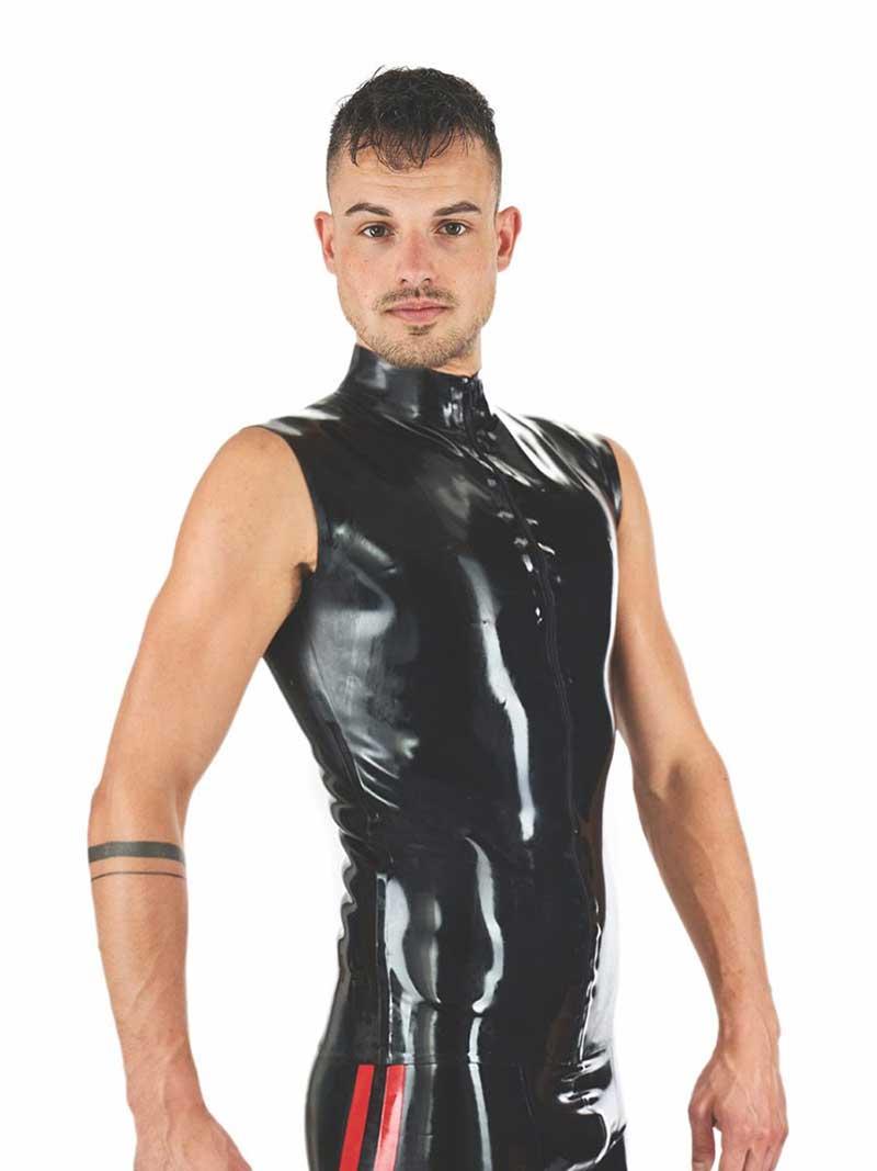 5cda82c4 Mister B Zipped Collar Sleeveless Muscle Shirt Black 303100 [303100 ...