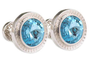Mousie Bean Crystal Cufflinks Rd 70's Double Stone 001 Aqua