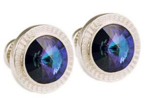 Mousie Bean Crystal Cufflinks Rd 70's Double Stone 001 Heliothrop