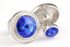 Mousie Bean Crystal Cufflinks Rd 70's Double Stone 001 Sapphire
