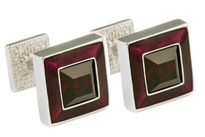 Mousie Bean Crystal Cufflinks Square Polo 003 Asprey Purple/Siam