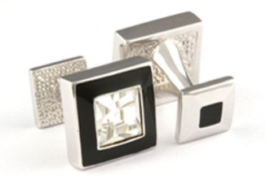 Mousie Bean Crystal Cufflinks Square Polo 003 Black/Crystal