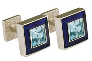 Mousie Bean Crystal Cufflinks Square Polo 003 Royal Blue/Aqua Crystal