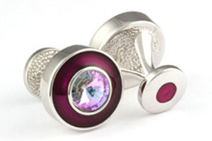 Mousie Bean Crystal Cufflinks Round Polo 004 Asprey/Vitrail Light