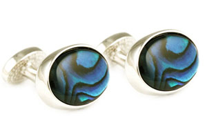 Mousie Bean Crystal Cufflinks Oval Semi Precious 005 Abalone Blue