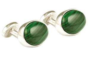 Mousie Bean Crystal Cufflinks Oval Semi Precious 005 Malachite