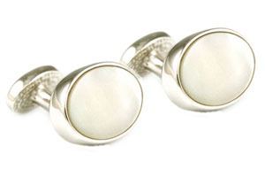 Mousie Bean Crystal Cufflinks Oval Semi Precious 005 M.O.P.