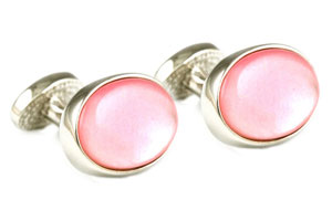 Mousie Bean Crystal Cufflinks Oval Semi Precious 005 Pink M.O.P.