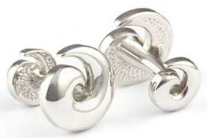 Mousie Bean Formal Cufflinks Pewter Swirl 013