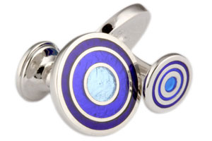 Mousie Bean Enamelled Cufflinks Target 039 Tonal Blue