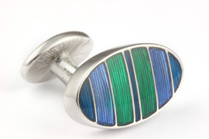 Mousie Bean Enamelled Cufflinks Symetrical Stripes 041 Blue & Green