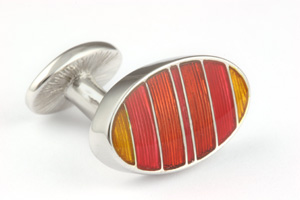 Mousie Bean Enamelled Cufflinks Symetrical Stripes 041 Tonal Orange