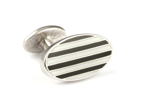 Mousie Bean Enamelled Cufflinks Oval Stripes 063 Black & White