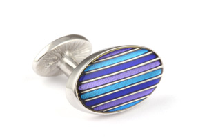 Mousie Bean Enamelled Cufflinks Oval Stripes 063 Tonal Blue