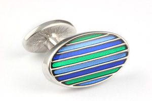 Mousie Bean Enamelled Cufflinks Oval Stripes 063 Tonal Green