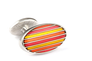 Mousie Bean Enamelled Cufflinks Oval Stripes 063 Tonal Orange