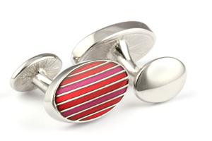 Mousie Bean Enamelled Cufflinks Oval Stripes 063 Tonal Red
