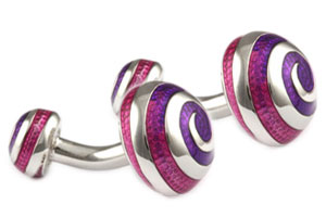 Mousie Bean Enamelled Cufflinks Swirl 066 Tonal Purple