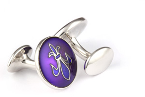 Mousie Bean Enamelled Cufflinks Fleur de Lys 070 Purple & Blue