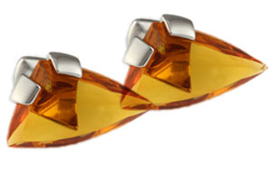 Mousie Bean Crystal Cufflinks Triangle 073 Amber
