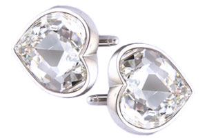 Mousie Bean Crystal Cufflinks Large Heart 075 Crystal