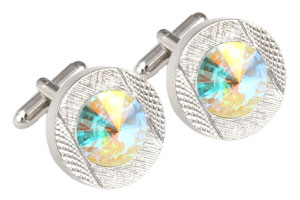 Mousie Bean Crystal Cufflinks Round 70's 083 AB