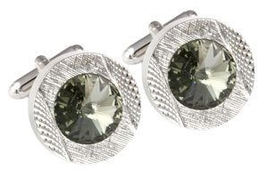 Mousie Bean Crystal Cufflinks Round 70's 083 Black Diamond