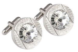 Mousie Bean Crystal Cufflinks Round 70's 083 Clear
