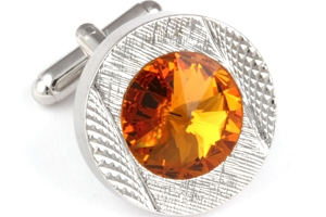 Mousie Bean Crystal Cufflinks Round 70's 083 Topaz