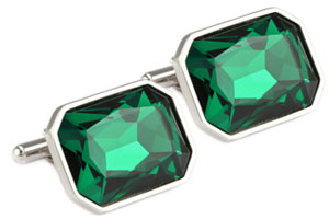 Mousie Bean Crystal Cufflinks Large Rectangle 085 Emerald