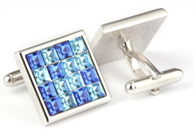 Mousie Bean Crystal Cufflinks Multi Square 096 Blue