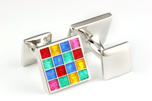 Mousie Bean Enamelled Cufflinks Multi Square 105 Multicolor