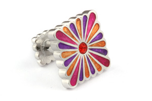 Mousie Bean Enamelled Cufflinks Liberty Flower 111 Multicolor