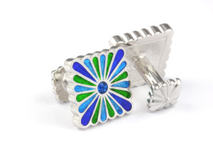 Mousie Bean Enamelled Cufflinks Liberty Flower 111 Tonal Blue