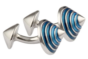 Mousie Bean Enamelled Cufflinks Cone 114 Blue