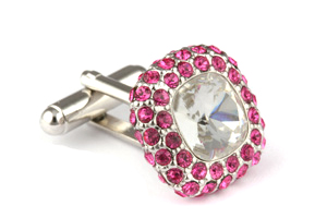 Mousie Bean Crystal Cufflinks Paved Square 117 Crystal Rose