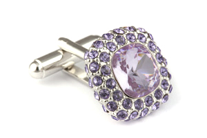 Mousie Bean Crystal Cufflinks Paved Square 117 Lt. Amethyst Tanzanit