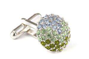 Mousie Bean Crystal Cufflinks Paved Round 118 Tonal Green