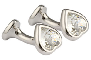 Mousie Bean Crystal Cufflinks Double Heart 130 Crystal Clear