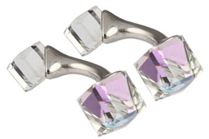 Mousie Bean Crystal Cufflinks Cubes 131 Vitrail Light