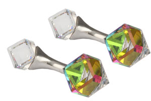 Mousie Bean Crystal Cufflinks Cubes 131 Vitrail Medium