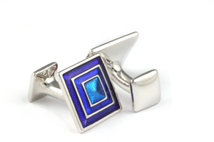 Mousie Bean Enamelled Cufflinks Pyramid Concentric Square 133 Tonal Blue