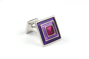 Mousie Bean Enamelled Cufflinks Pyramid Concentric Square 133 Tonal Purple