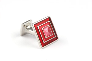 Mousie Bean Enamelled Cufflinks Pyramid Concentric Square 133 Tonal Red