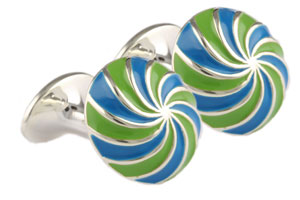Mousie Bean Enamelled Cufflinks Umbrella 134 Blue/Green